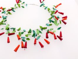 rote Kelchblüten | offen, Glas, Stahlseil, Silber | 220906-17