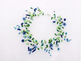 blaue Blüten | offen, Glas Stahlseil, Silber | 260898-16