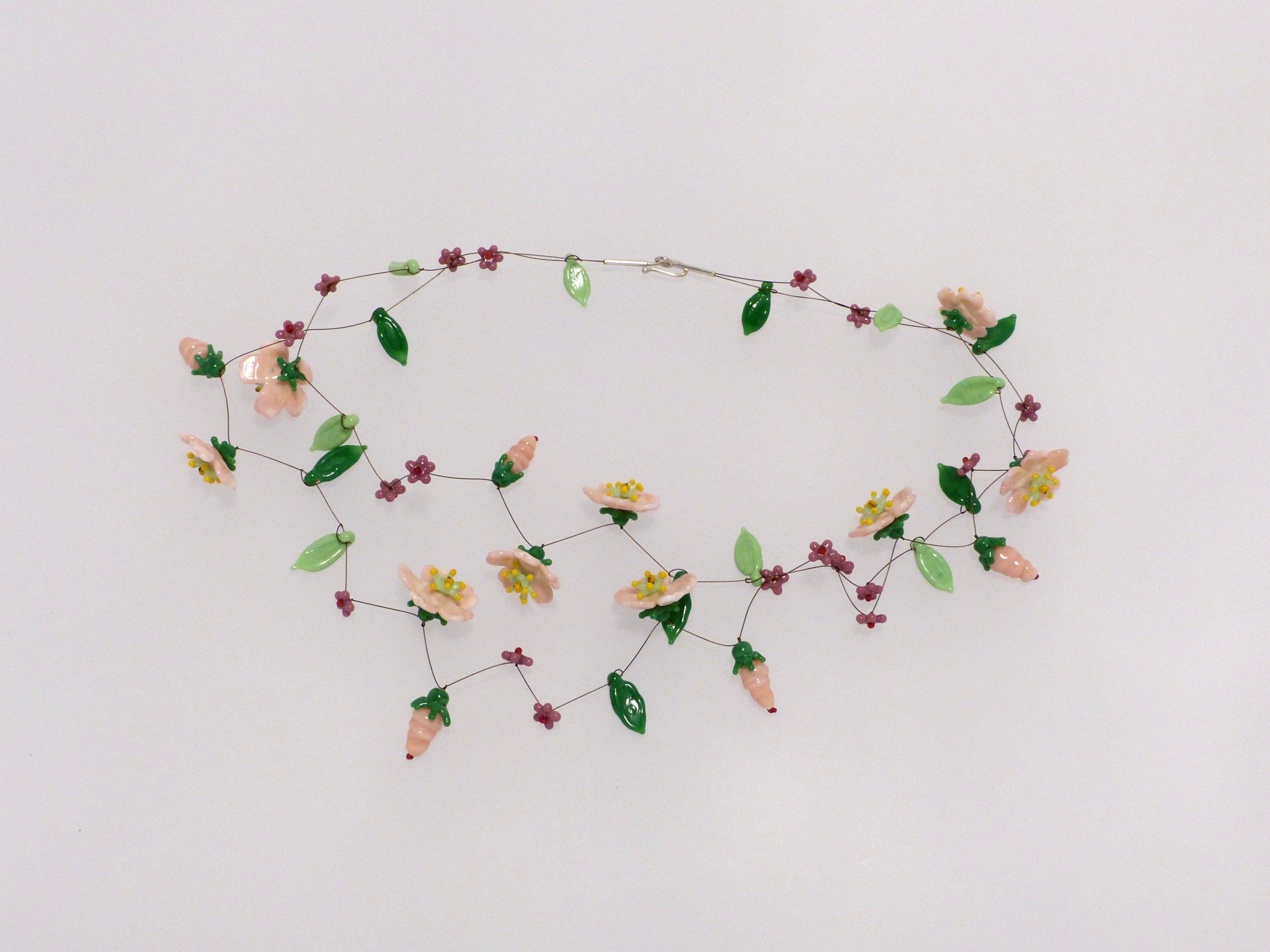 rosa Blüten | 2 Str. Glas Stahlseil, Silber | 130982-19