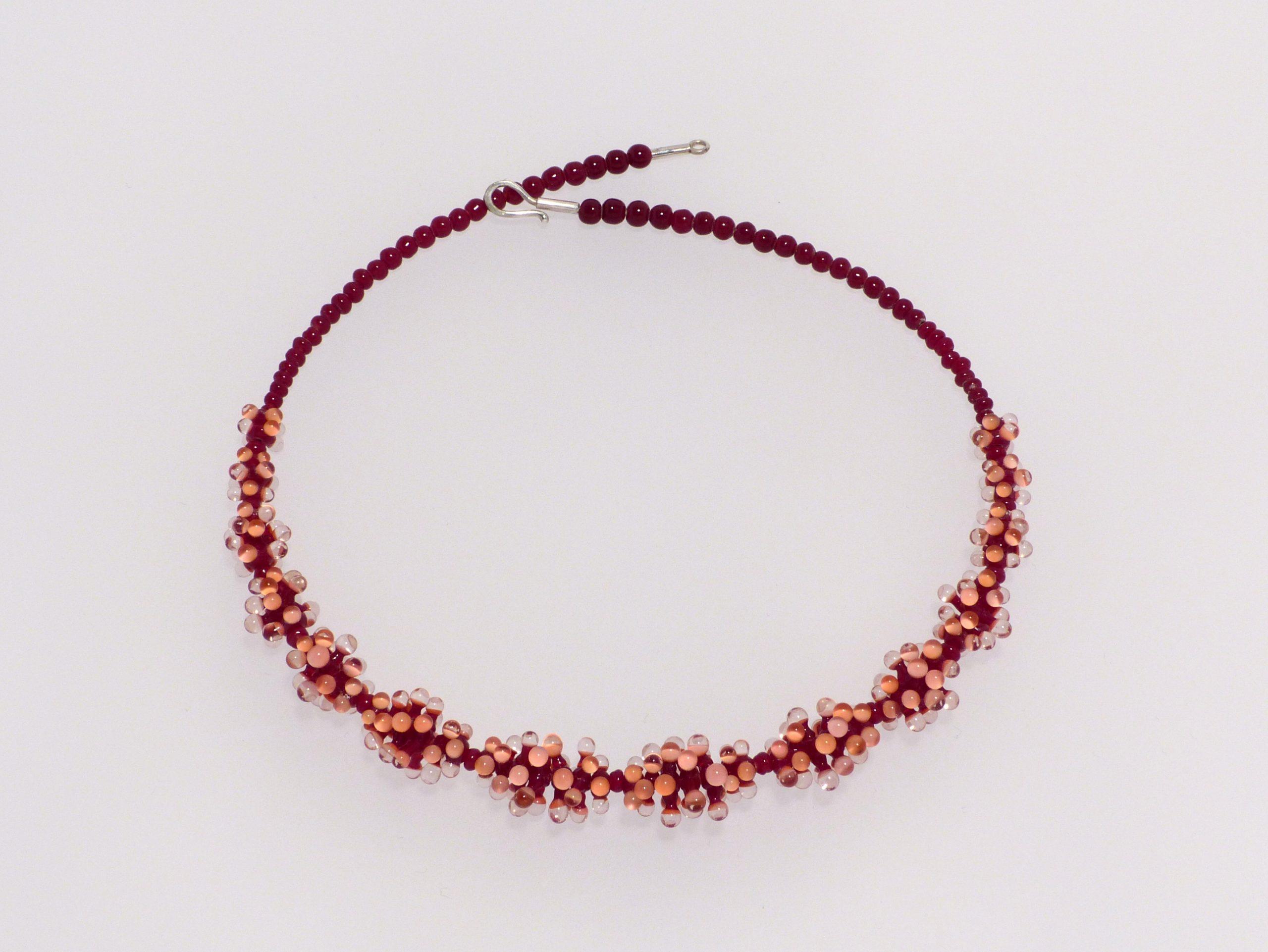 Seeanemone kugelig, d.rot-pink-rosa | Glas, Stahlseil, Silber | 170992-19