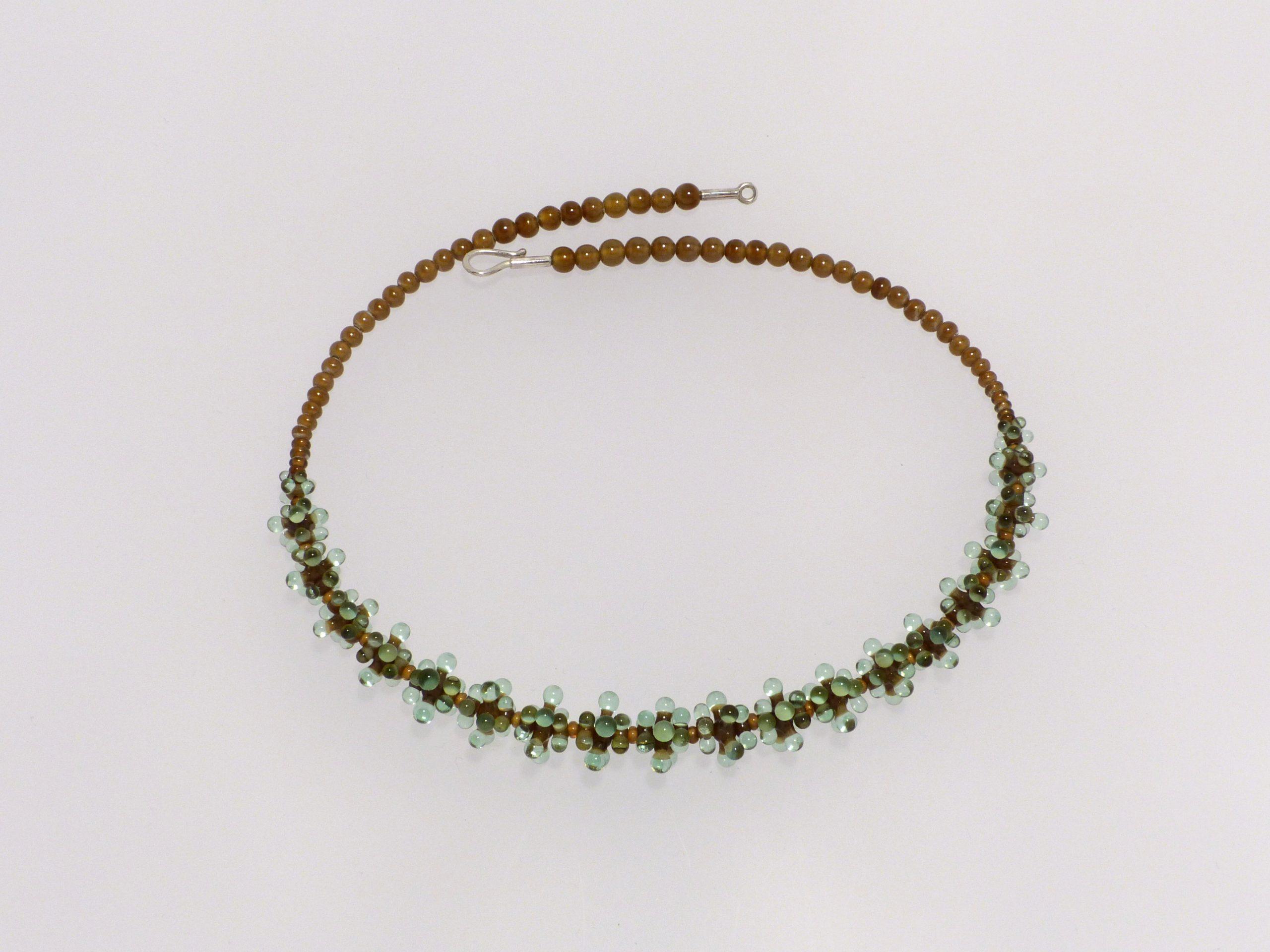 Seeanemone kugelig, klein, tabak-grüntransp. | Glas, Stahlseil, Silber | 130994-19