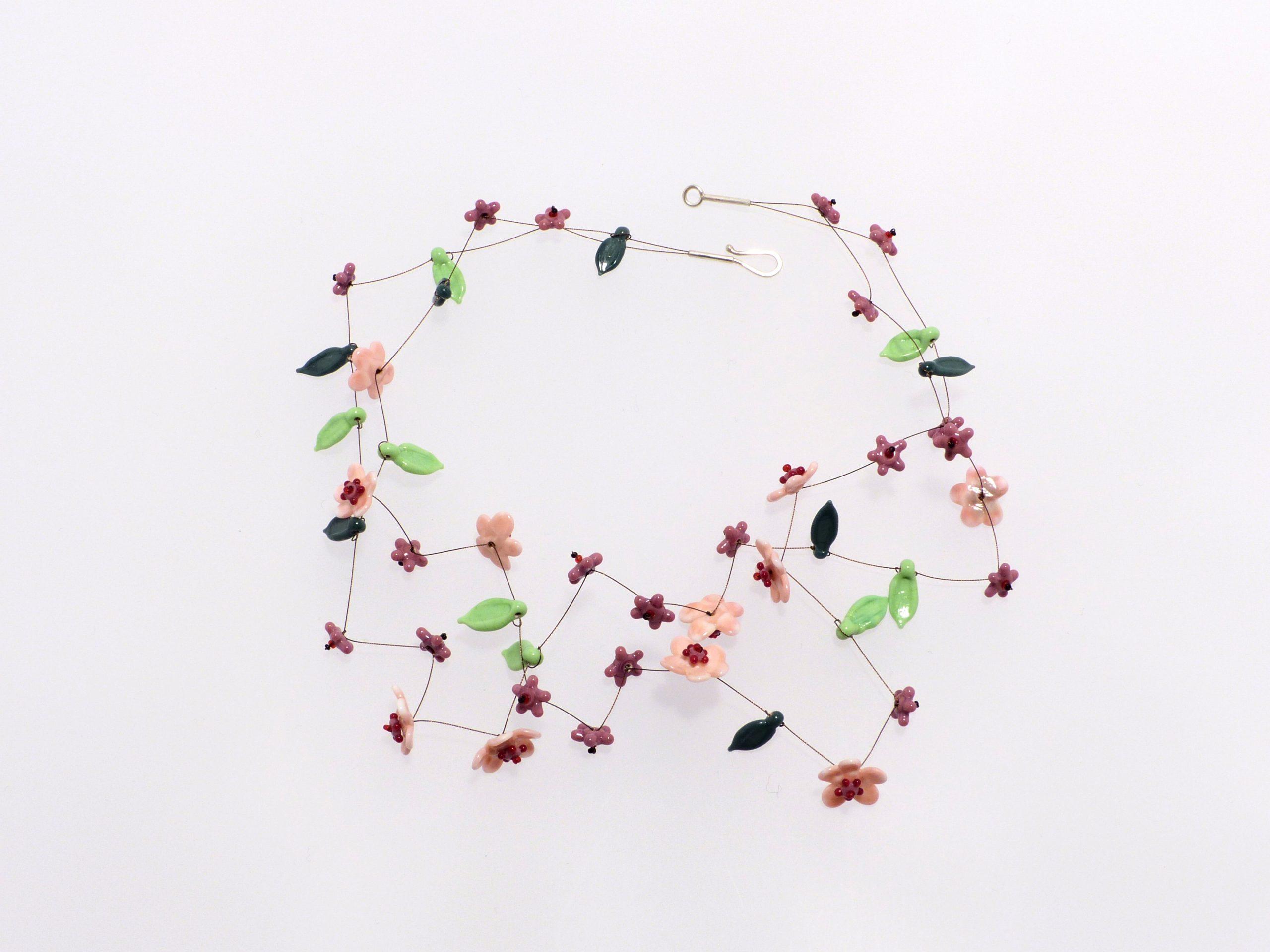 rosa Blüten 2 Str. | Glas, Stahlseil, Silber | 1101014-20