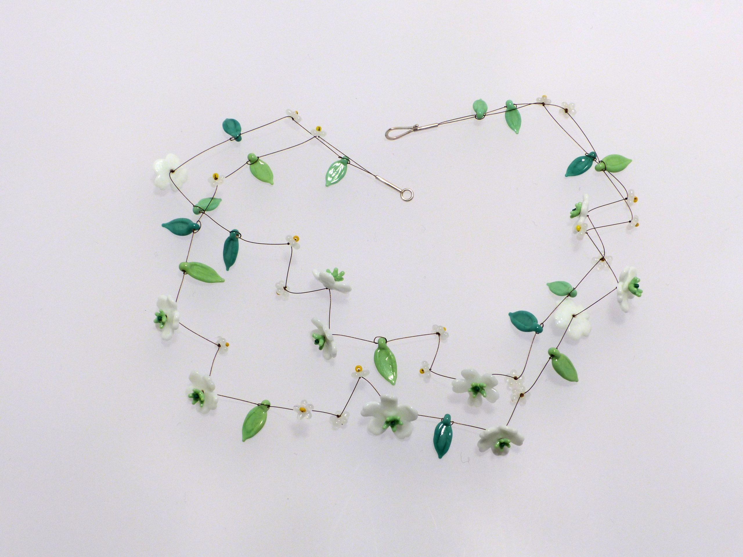 weiße Cosmea, 2 Str. | Glas, Stahlseil, Silber | 1201015-20