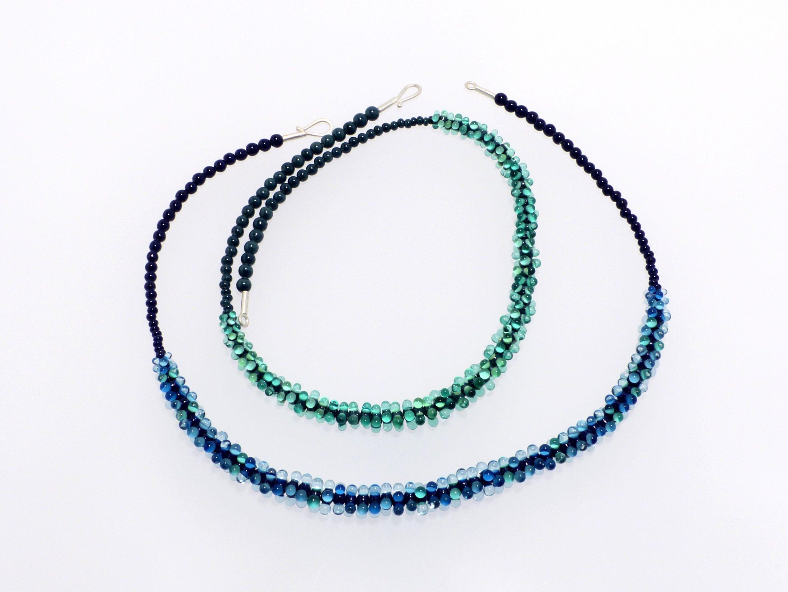 Glanz kompakt 3 farbig, türkis und blau | Glas, Stahlseil, Silber | 120996-20