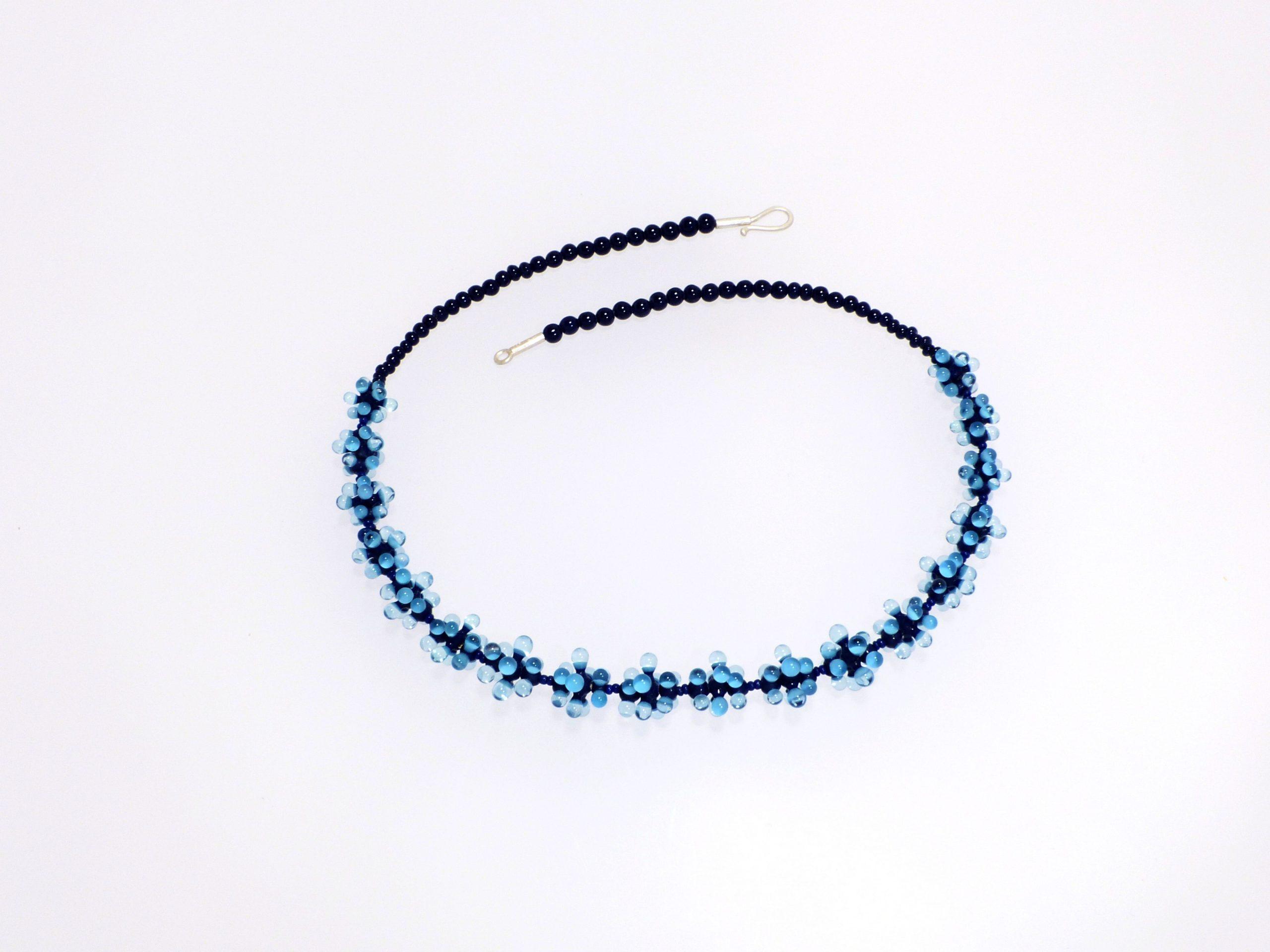 Seeanemone kugelig klein, 3-farbig blau | Glas, Stahlseil, Silber | 1501003-20