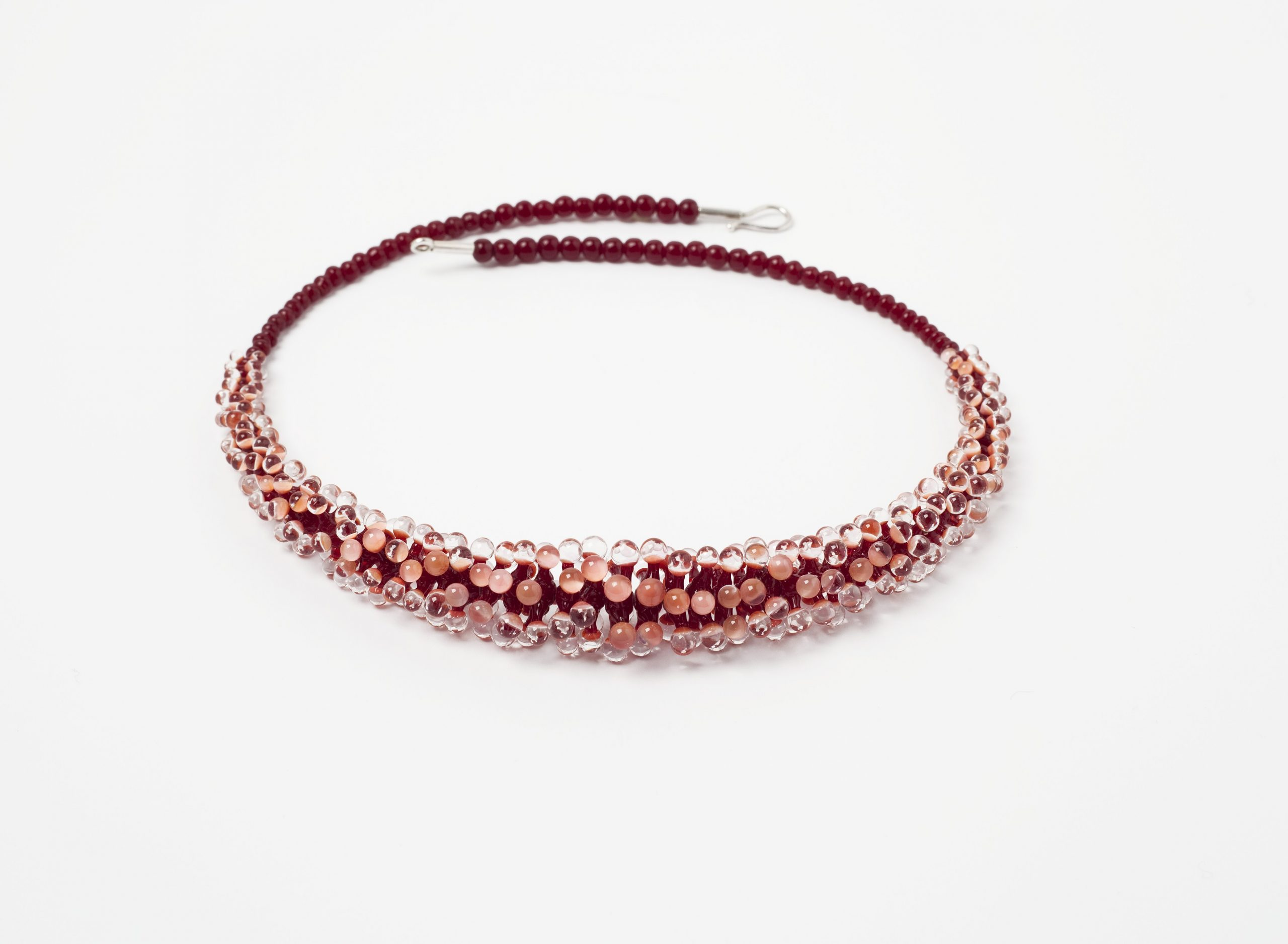 Seeanemone rot- lachs 3 farbig | Glas Stahlseil, Silber | 160991-19