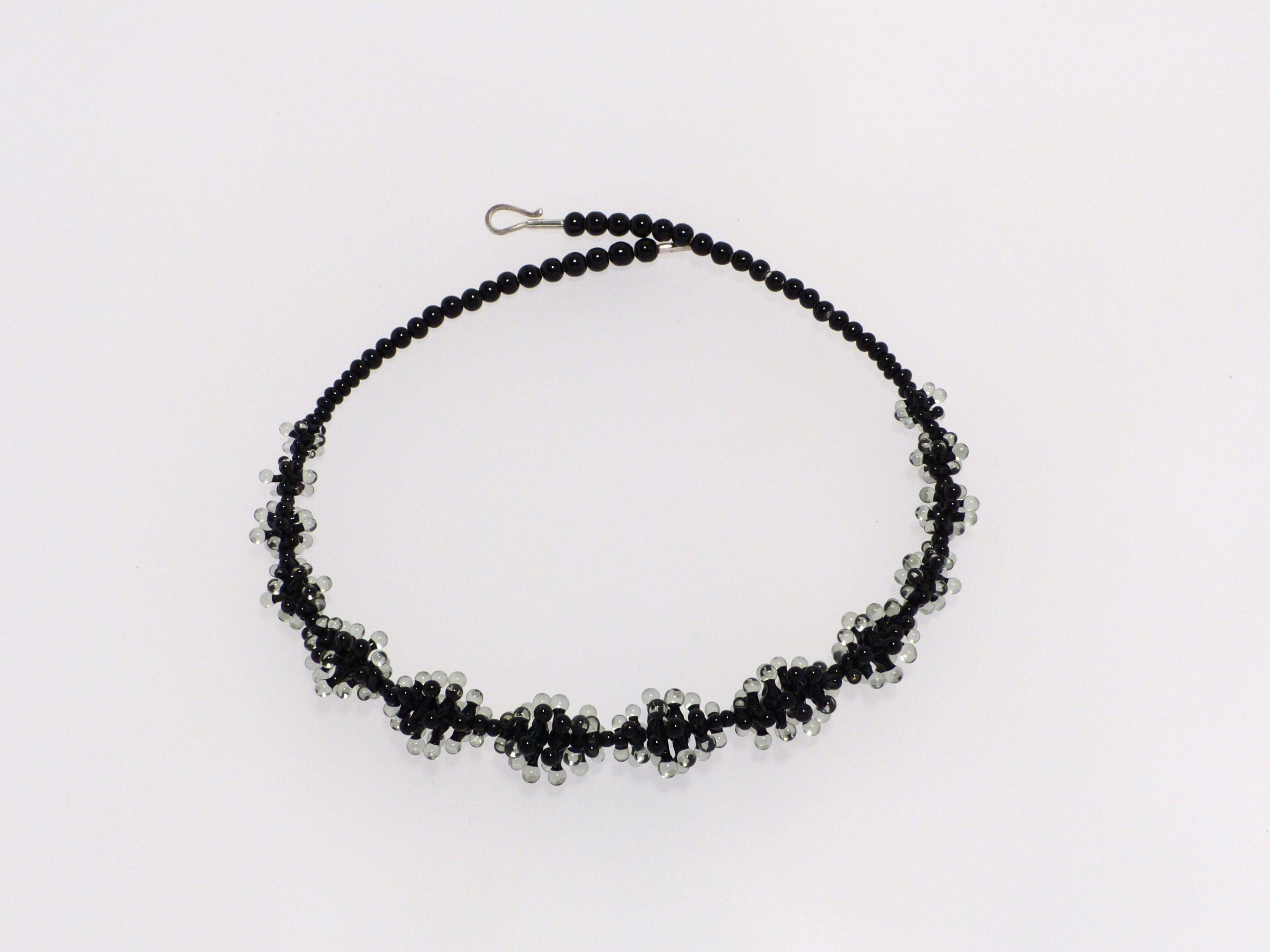 Seeanemone kugelig schwarz- grau |  Glas Stahlseil, Silber | 140993-19